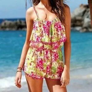 Victoria's Secret pink floral romper cover up sz m
